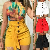 Women's Fashion Sexy High Waist Slim Fit Casual Style Belted Beach Shorts Pants