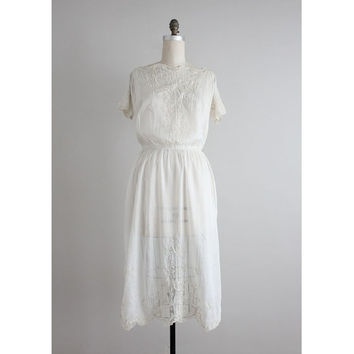 1920s dress / embroidered white silk dress / 1910s dress