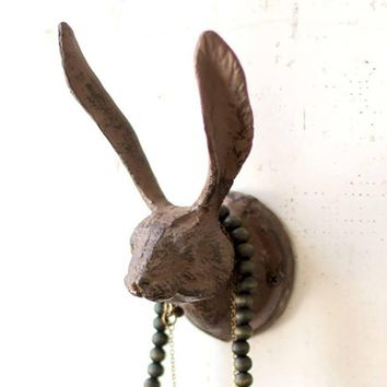 Cast Iron Rabbit Wall Hook ~ Rustic