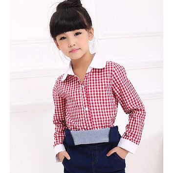 spring children's clothes girls blouses causal long sleeve cotton girl blouses for girls kids shirts turn-down shirts tops