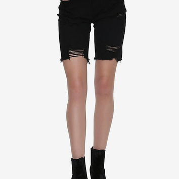 Black Destructed Bermuda Denim Short