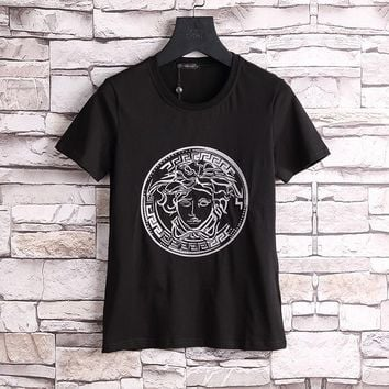 Versace Women or Men Fashion Casual Pattern Embroidery Shirt Top Tee
