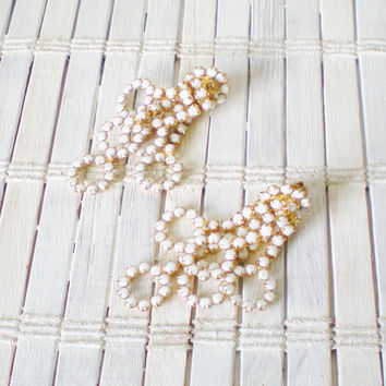 Mid Century Milk Glass Clip On Earrings by RetroRevivalBoutique