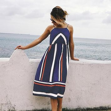 Women Striped Print Strapped Beach Dress Slash Neck Empire Color Block Sundress Dresses Ladies Strapless Straight Blue Dress-10