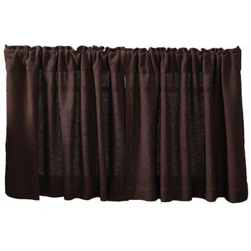 Burlap Chocolate Tier Curtains 24""