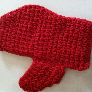 Lobster Claw Red Pot Holder Hand Crochet and Lined made with 100% Cotton Yarn