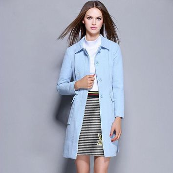 CUPUPGM Plaid Winter Coat With Pocket Slim Jacket [9585033610]