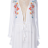 Cupshe Grow On Floral Embroidered Plunging Dress