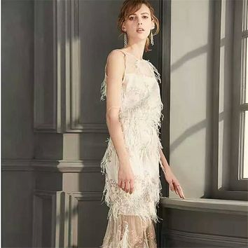 O-Neck Sleeveless Feathers Embroidery Lace Cocktail Gowns Bling  A-line  Formal Dress