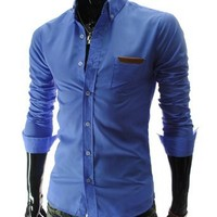 TheLees (AL348) Mens Casual Slim fit Vivid Color Leather Patched Long Sleeve Shirts Blue US XS(Tag size L)