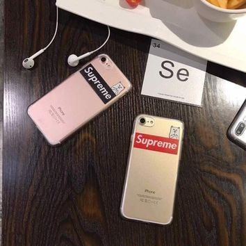 Supreme luxury transparent thin cat silicone novelty 2017 case cover for iPhone 7