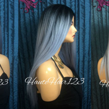 Smokey Blue Pastel Ombre Human Hair Blend Lace Front Wig