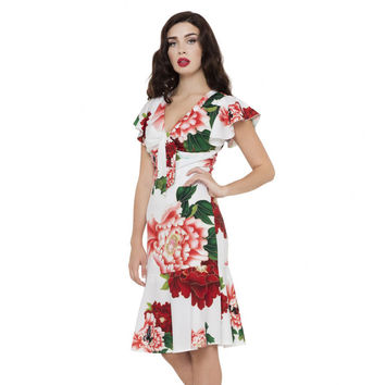 Myrna Floral Butterfly Dress White