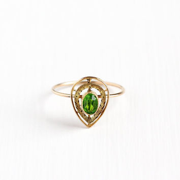 Antique 10k Rosy Yellow Gold Simulated Peridot Stick Pin Conversion Ring - Vintage Art Deco Size 8 Teardrop Leaf Fine Green Glass Jewelry