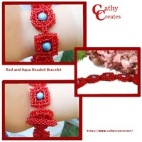 Red and Aqua Beaded Bracelet | cathycreates.net
