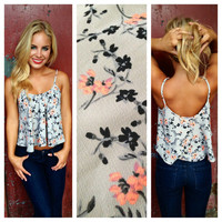 Gray Flower Crop Top