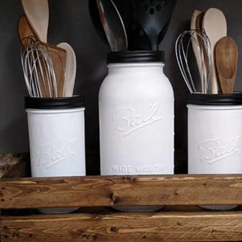 White and Black Mason Jar Utensil Set in a Rustic Country Crate Box