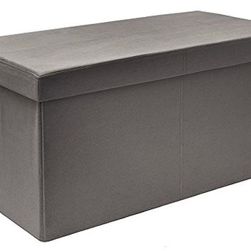The FHE Group Foldable Storage Bench, 30 by 15 by 15-Inch, Grey Suede