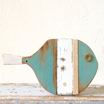 Whimsical driftwood and reclaimed folk art fish for wall and interior decor