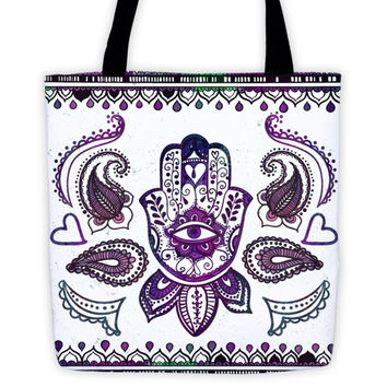 Hand Painted Fatimas Hand (Hamsa) Symbol & Boho Elements  All-Over Tote