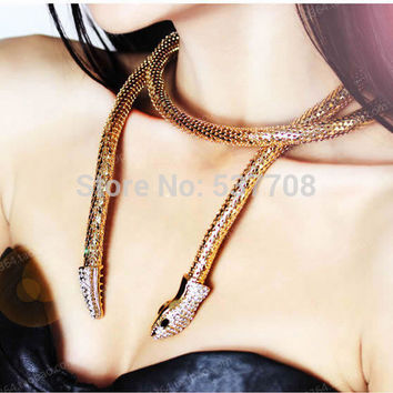 Hiphop Punk Antique Gold/Gold /Silver/Black Plated Crystal Snake Long Necklace Women Sweater/Waist Chain Clothing Accessories