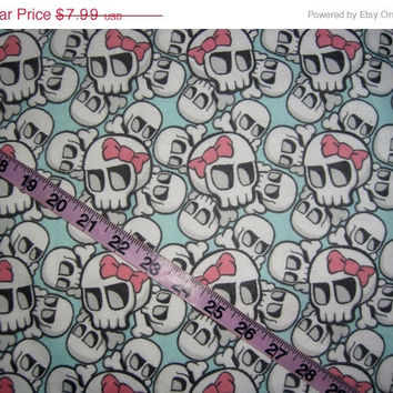 Flannel fabric with skulls bows skeleton skull cotton quilt quilting sewing material to sew by the yard crafting project