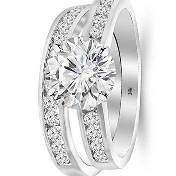 .2.7 Cttw 14K White Gold Round Cut Classic Channel Set Wedding Set Bridal Band & Diamond Engagement Ring with a 2 Carat J-K Color VS1-VS2 Clarity Center