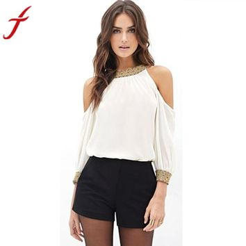 Women Blouse Long Sleeve Chiffon White Shirts Blouse Off Shoulder Solid O-Neck Loose Casual Tops #LSW