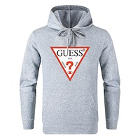 GUESS 2019 new classic inverted LOGO loose hooded hoodie sweater grey