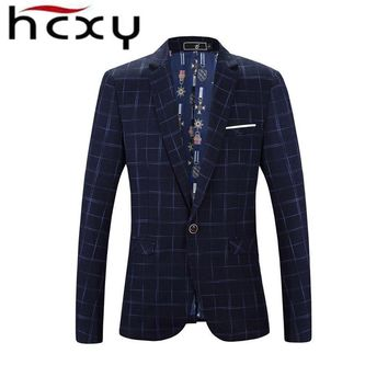 HCXY Plaid Blazer Men Costume Homme Coat Blazer Masculino Brand Clothing 2017 Fashion Men Blazer Dress Suit Jacket Jaqueta