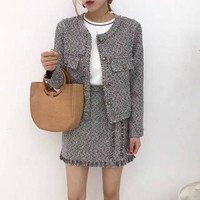 """Chanel"" Women Temperament Fashion Multicolor Long Sleeve Suit Coat Tassel High Waist Short Skirt Set Two-Piece"