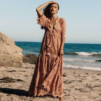 Embroidery Lace Dress V-neck Split-joint Cover-up Maxi Dresses  Beach Holiday Sundress Boho Chic Women Dresses