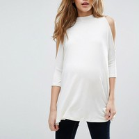 ASOS Maternity Top With Cold Shoulder and High Neck at asos.com
