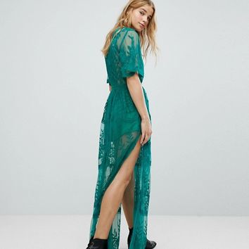 Honey Punch Maxi Dress In Premium Lace With Kimono Sleeves at asos.com