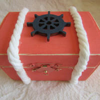 Beachy Coastal Nautical Coral and Navy Rustic Wedding Ring BOx Gift Box Trinket Box Wedding Decor