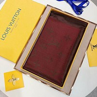LV Louis Vuitton New Popular Women Men Cashmere Scarf Scarves Shawl Accessories(5-Color) Red I-TMWJ-XDH