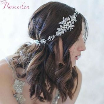 BRIDAL WEDDING HAIR BAND silver plated floral simulated pearl Ribbon tiara Headband Women Party Pageant Crowns hairpiece