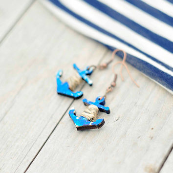 Wood Earrings blue Anchor - laser cut & shabby hand painted