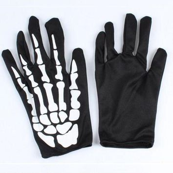 ac PEAPO2Q Punk Black Dancing Skeleton Gloves Devil Skull Gloves Hip Hop Finger Gloves Halloween Costume Masquerade Party Gifts