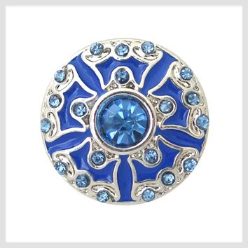 """Blue Enamel and Crystals 20mm 3/4"""""""