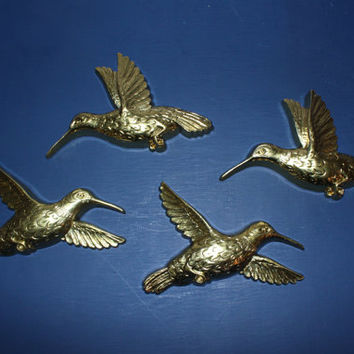 Homco gold hummingbird wall decor (Set of 4), bird decor, wall hangings, wall plaques