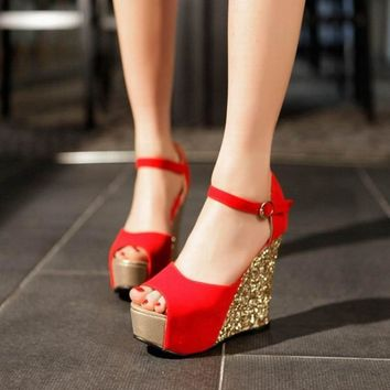 Summer new arrival women wedges sandals high heels open toe shoe scrub paillette red wedding shoes bridal shoes female