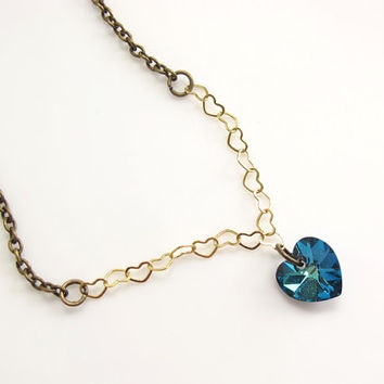 Hearts chain, Blue Swarovski Crystal Heart Pendant, Hearts Necklace, Love Necklace. Simple Elegant gift Minimal Necklace