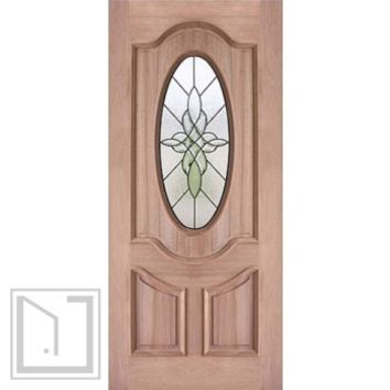 "Decorative Oval Lite, Mahogany Single Entry Door, 36""x80"""
