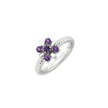 Sterling Silver & Amethyst Stackable 5 Round Stone Flower Ring