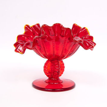 Vintage Fenton Ruby Red Glass Compote Ruffled Edge Beaded Pattern Candy Bowl L G Wright