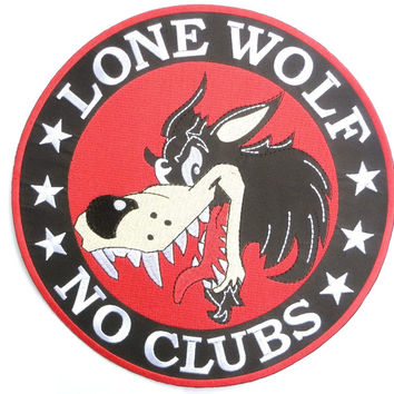 "LONE WOLF NO CLUBS Outlaw Biker Big Back Patch 9.5""/24cm"