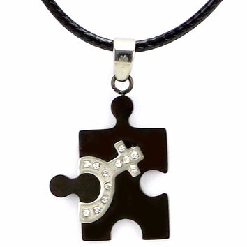 NECKLACE JEWELRY LGBT Gay Pride Stainless Steel Black Cord Puzzle piece Rhinestones
