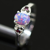 Sterling Silver and Purple Fire Opal Double Heart Ring