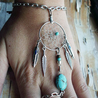 Bohemian  Dreamcatcher Slave Bracelet Boho Hippie Stone Tribal Gypsy Silver Turquoise Twilight Dream Catcher Native American Inspired